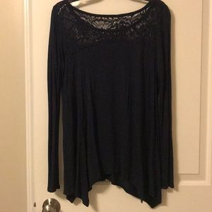 Navy Long sleeve blouse with lace detail